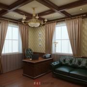 дизайн кабинета в классическом стиле в коттедже