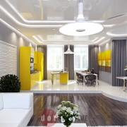 разработка дизайна гостиной хай-тек в коттедже