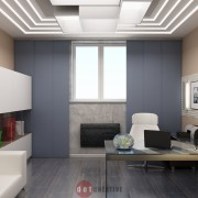 дизайн кабинета в коттедже в стиле хай-тек