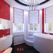 красивый дизайн ванны в коттедж ар-деко