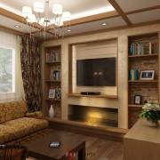 интерьер гостиной в доме из бруса