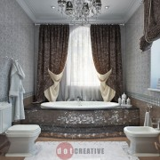 красивый дизайн ванной в коттедже