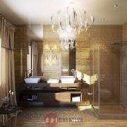 ар деко интерьер ванной в коттедже