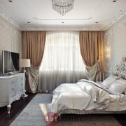 красивый ардеко дизайн интерьер спальни коттедже