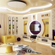 интерьер гостиной комнаты в коттедже