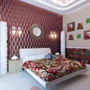 оригинальный интерьер спальни коттеджа таунхауса