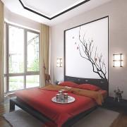 дизайн проекте интерьер спальни коттеджа в японском стиле