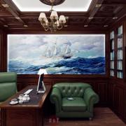 красивый дизайн интерьера кабинета в классике коттедже
