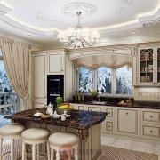изумительный интерьер кухни в коттедже