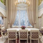 отличный и красивый интерьер столовой в коттедже вилле доме