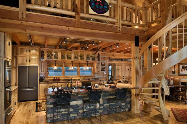 Interior, horizontal, kitchen with circular stairway to loft, DeSocio residence, Paris, Tennessee; Honest Abe Log Homes